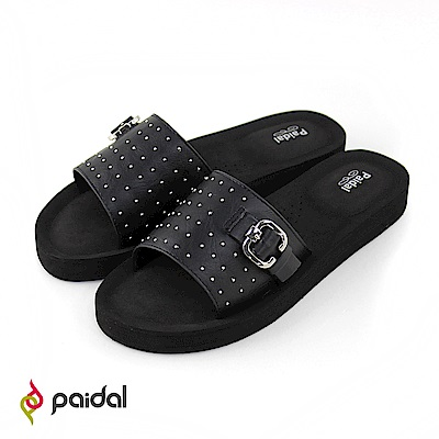 Paidal搖滾鉚釘扣環厚底一片式美型拖-黑