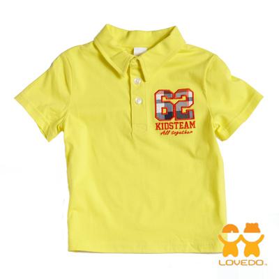 【LOVEDO艾唯多童裝】運動球員62號 潮流短袖Polo衫 (黃)