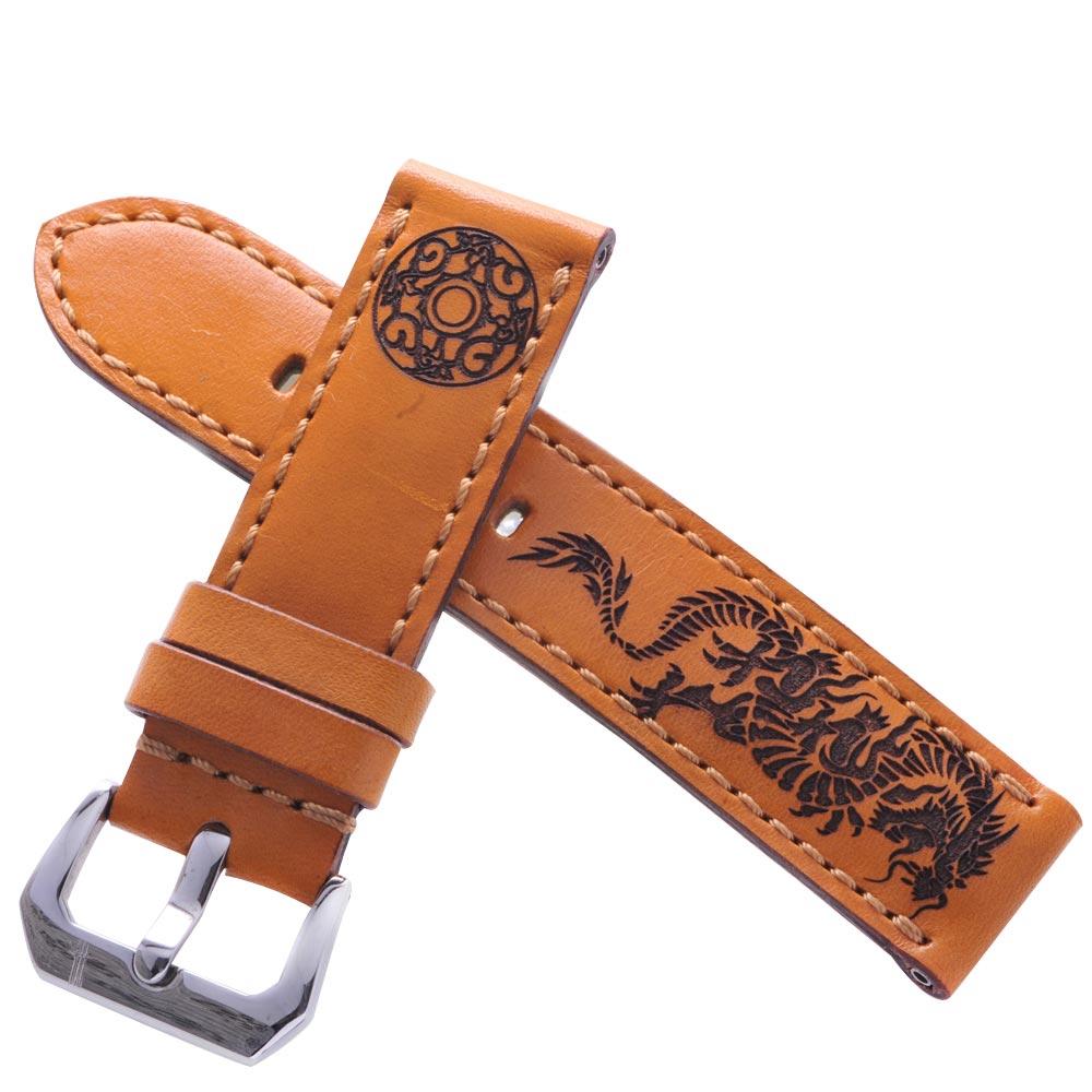 TED SU 太和錶帶 龍騎士Panerai 沛納海代用帶咖啡黃同色線-24*24mm