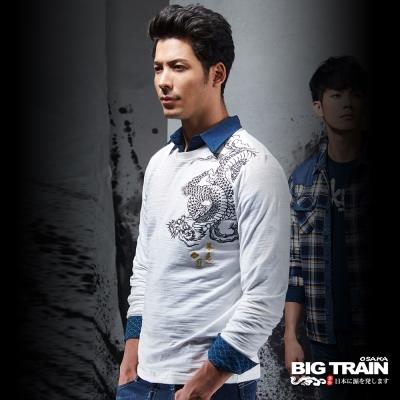 BIG TRAIN 散櫻遊龍圓領長袖T-男-白色
