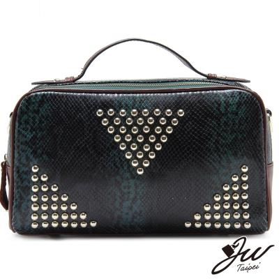 JW真皮奢華內斂釘釦設計兩用包-共四色-水蛇綠