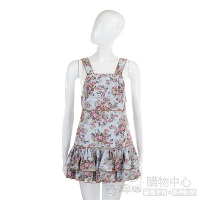 D&G 藍色碎花款蛋糕裙洋裝(附綁帶)