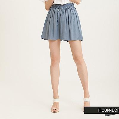 H:CONNECT 韓國品牌 女裝-層次感打摺綁帶短褲-藍(快)