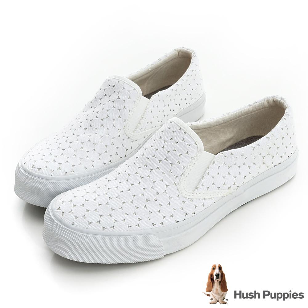 Hush Puppies 白色戀人中性咖啡紗懶人鞋-白色