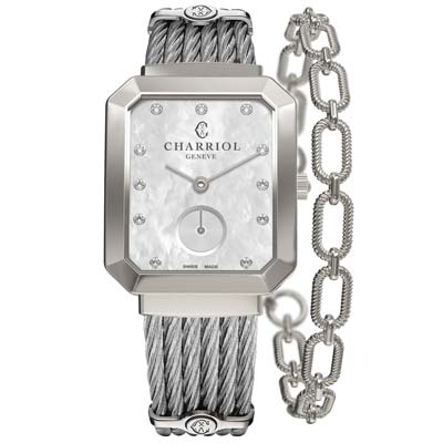 CHARRIOL夏利豪ST-TROPEZ 法式浪漫手環腕錶-珍珠白25×30mm
