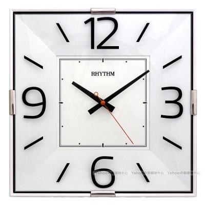 RHYTHM麗聲 獨到品味方形掛鐘(現代白黑)/30cm