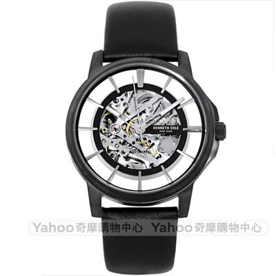 Kenneth Cole 紳士風尚真皮鏤空機械手錶-黑/42mm