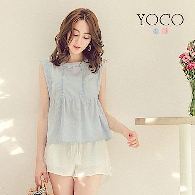 東京著衣-yoco 輕甜女孩鏤空蕾絲無袖上衣-XS.S.M(共二色)