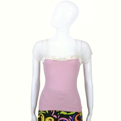 ANNA MOLINARI 粉紫色拼接透膚短袖上衣