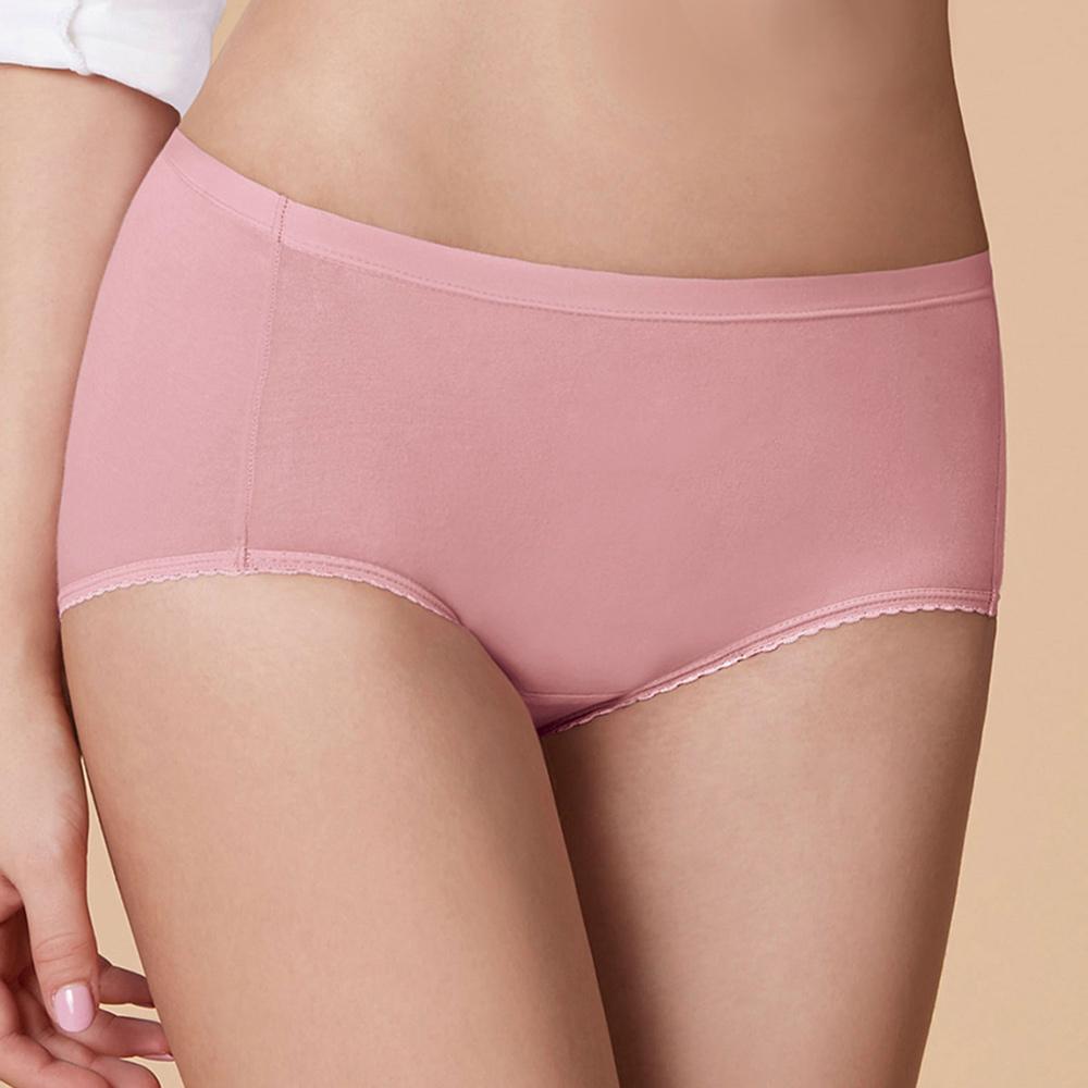 曼黛瑪璉 中腰寬邊三角生理內褲 M-XL(輕甜粉)