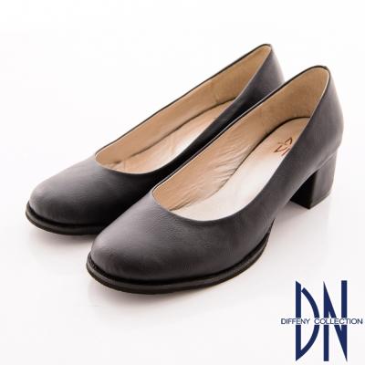 DN-巴黎漫步-高貴細絨布低跟包鞋-黑