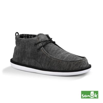 SANUK 帆布內條紋短靴-男款(黑色)