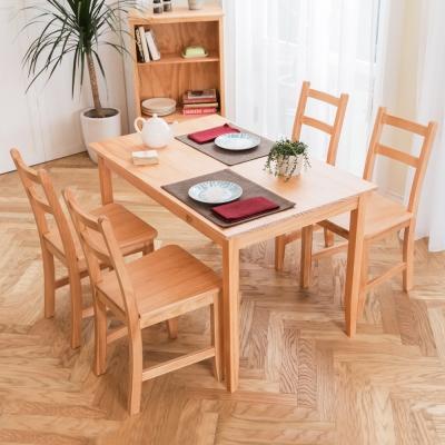 CiS自然行實木家具- 北歐實木餐桌椅組一桌四椅 74x118公分/柚木色+原木椅墊