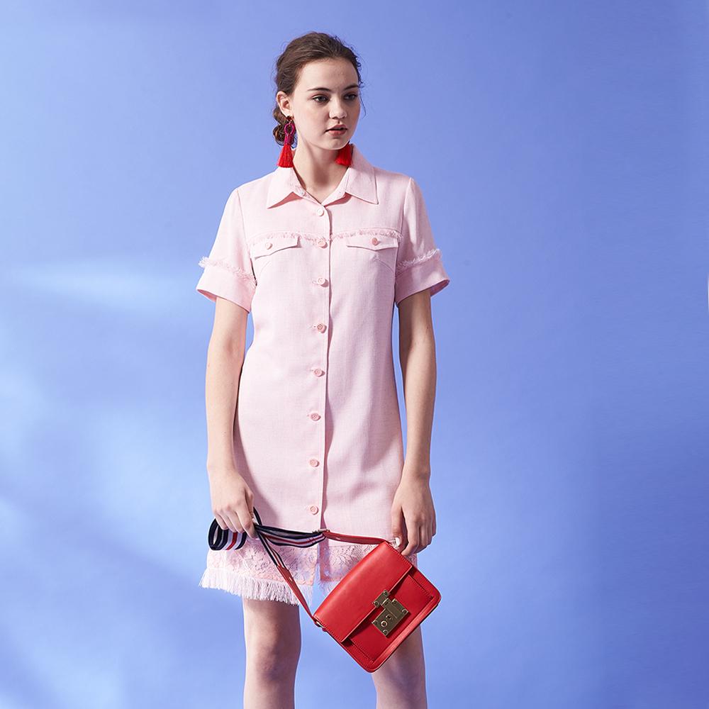 ICHE 衣哲 氣質抽鬚流蘇蕾絲拼接襯衫式連身洋裝(兩穿)-粉