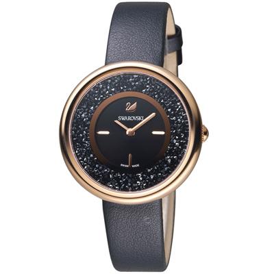 SWAROVSKI施華洛世奇Crystalline璀璨耀眼時尚腕錶-34mm/玫瑰金x黑色
