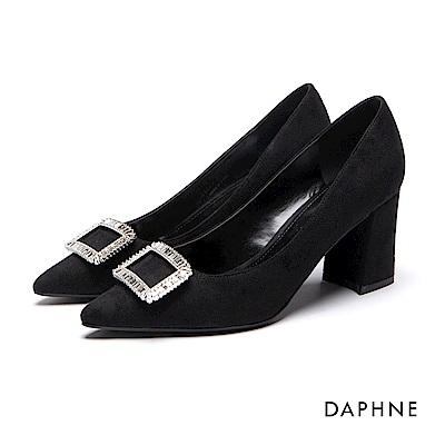達芙妮DAPHNE 高跟鞋-水鑽方釦布面尖頭馬蹄粗高跟鞋-黑