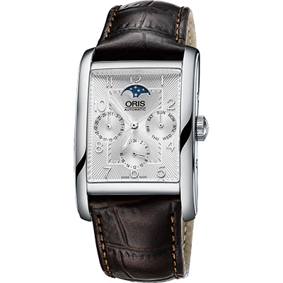 ORIS Rectangular 經典月相機械腕錶-銀x咖啡/32x47mm
