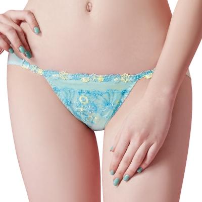 思薇爾 啵時尚花漾女神系列M-XL蕾絲刺繡低腰三角內褲(汽水綠)