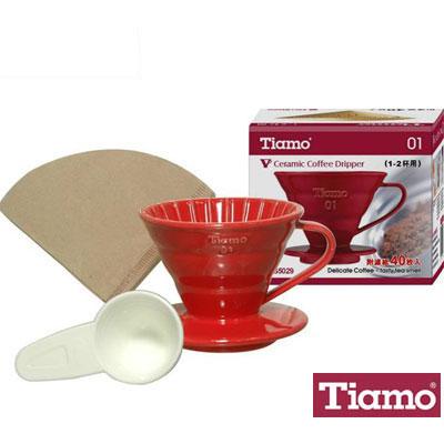 Tiamo V01 1-2人陶瓷濾杯附濾紙40枚(紅色)HG5029