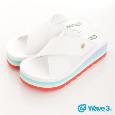 WAVE3【女】台灣製天鵝絨厚底日系~白