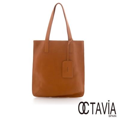 Octavia 8 真皮 - JUST PIECES 原皮品味極簡托持扁包 - 文青棕