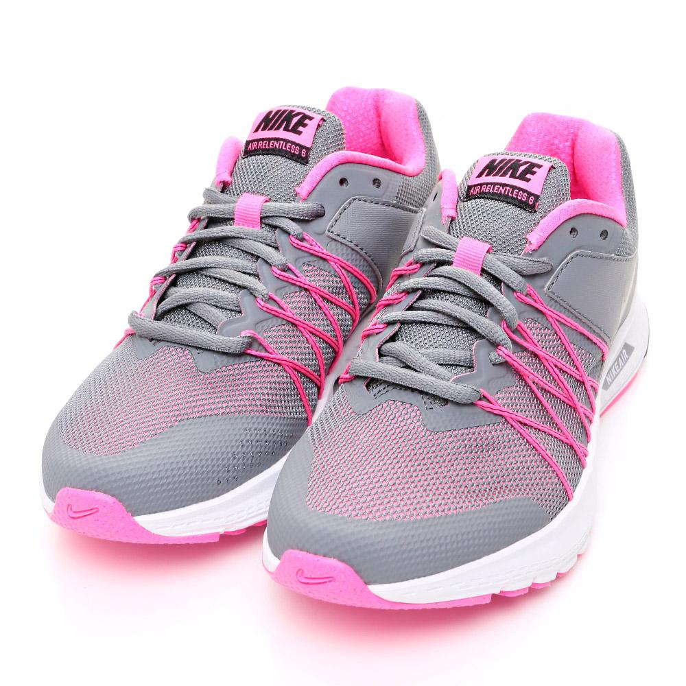 24H-NIKE-女慢跑鞋843883002-灰粉紅