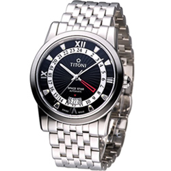 TITONI Spacestar 天星系列 GMT 機械腕錶-黑/41mm