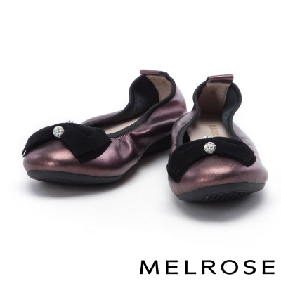 娃娃鞋 MELROSE 蝴蝶結飾釦超軟Q全真皮厚底娃娃鞋-紫紅