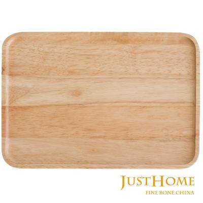 Just Home橡膠原木色長形托盤30x21cm(台灣製)