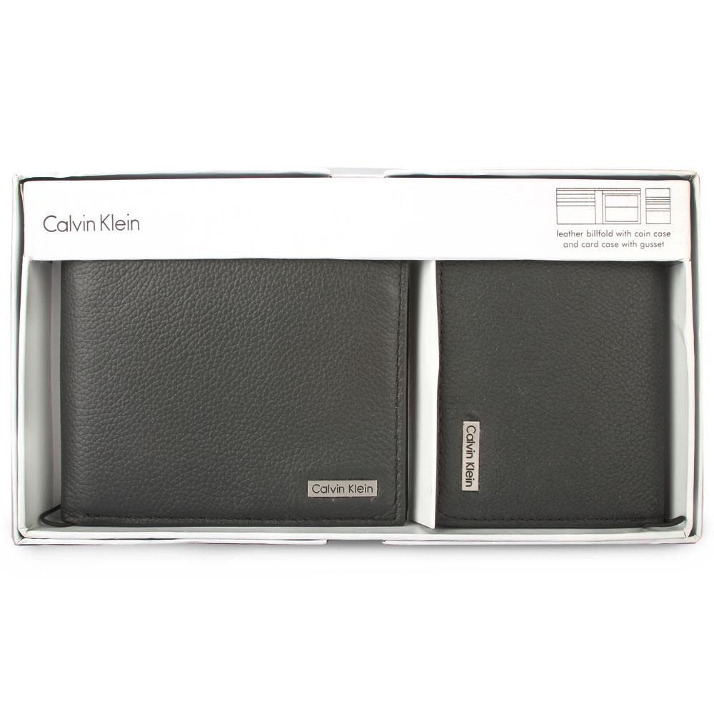 Calvin Klein 荔枝紋零錢短夾/名片夾二入禮盒-黑色
