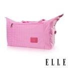 ELLE 輕旅休閒可掛式摺疊收納尼龍手提行李袋- 格紋粉 EL82358