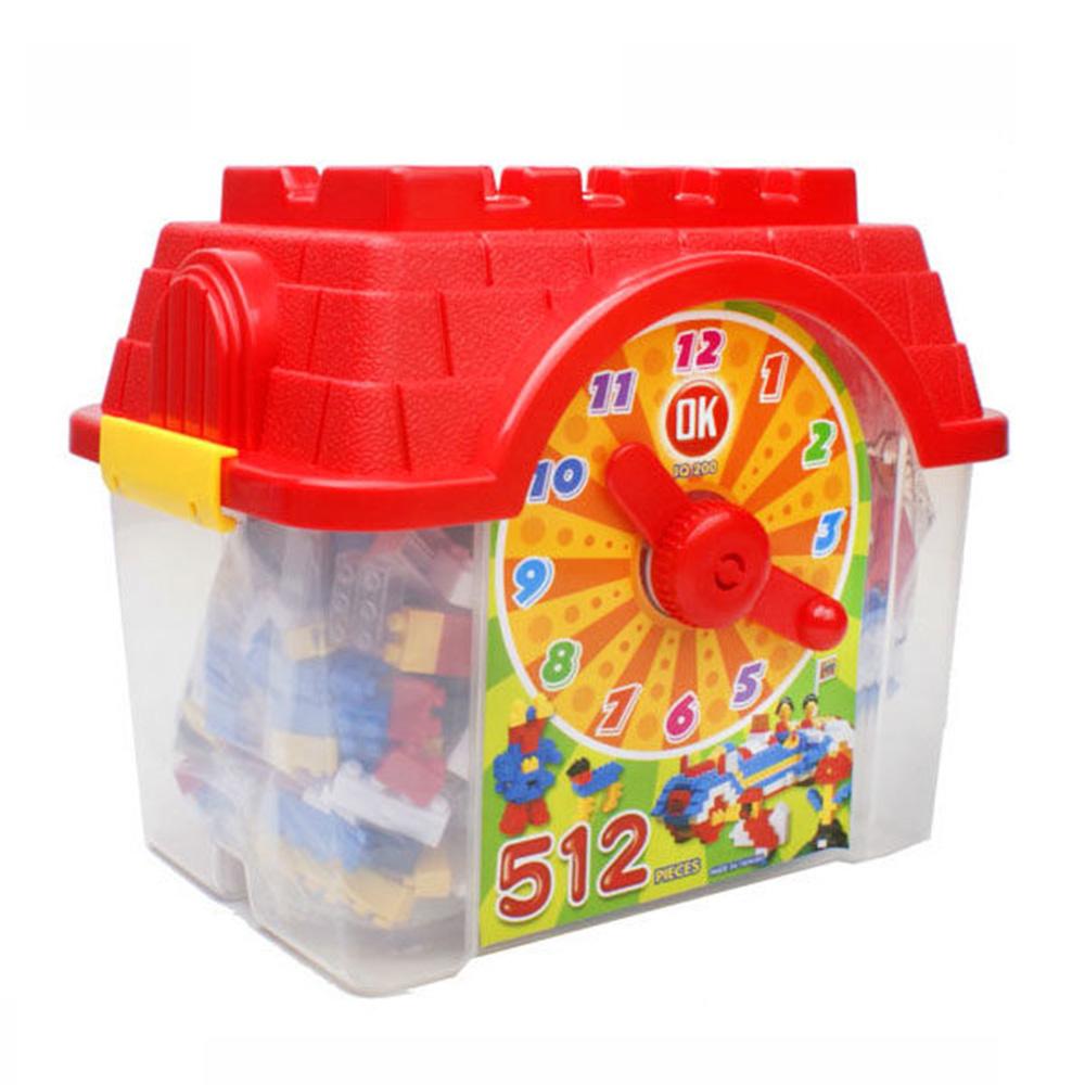OK積木 我高積木基本顆粒積木時鐘造型收納箱512片裝 OK512