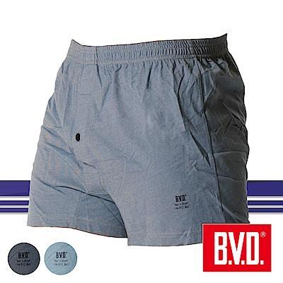 BVD 單寧風針織五片式開檔四角褲-單件(麻黑紋)