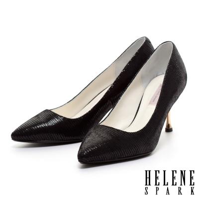 HELENE-SPARK-蜥蜴貼膜羊皮素面尖頭金屬高跟鞋-黑