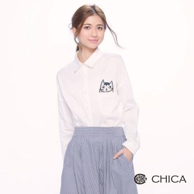 CHICA 歐美率性休閒貓咪圖騰造型襯衫(2色)