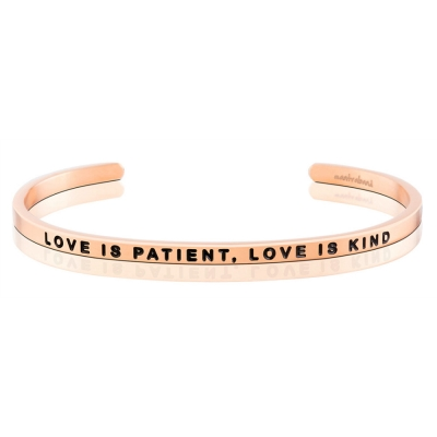 MANTRABAND Love is Patient Love is Kind 玫瑰金手環