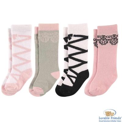 Luvable Friends 粉黑芭蕾舞鞋長筒嬰兒襪4件組