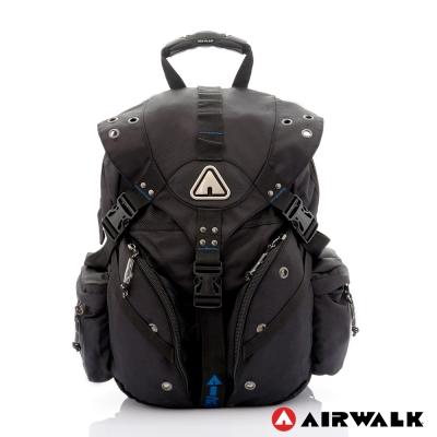 AIRWALK-美式潮流三叉扣尼龍大後背包-深度藍