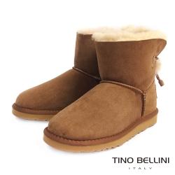 Tino Bellini 不修邊羊皮毛裡繫帶短筒平底雪靴_棕