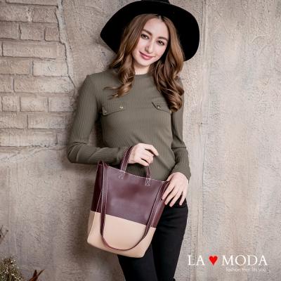 La Moda 設計感極強小巧拼接撞色托特肩背手提子母包(深紅/杏)