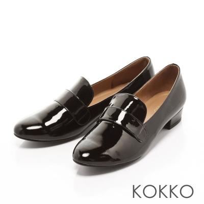 KOKKO-美式休閒真皮樂福懶人跟鞋 - 素面黑