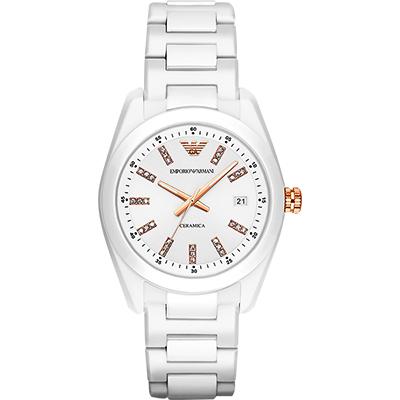 Emporio Armani Ceramica 晶鑽時尚腕錶-白/39mm