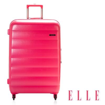 福利品ELLE 法式輕量蠶寶寶系列-20吋霧面純PC橫條行李箱-桃紅