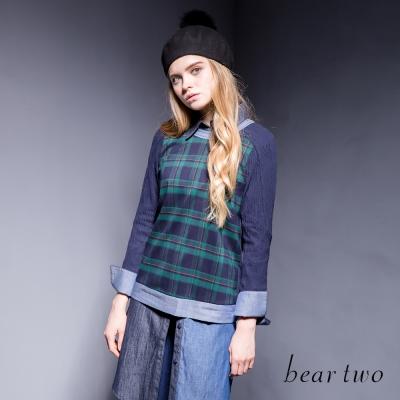 beartwo-格紋配色拼接異素材壓紋造型上衣-二色