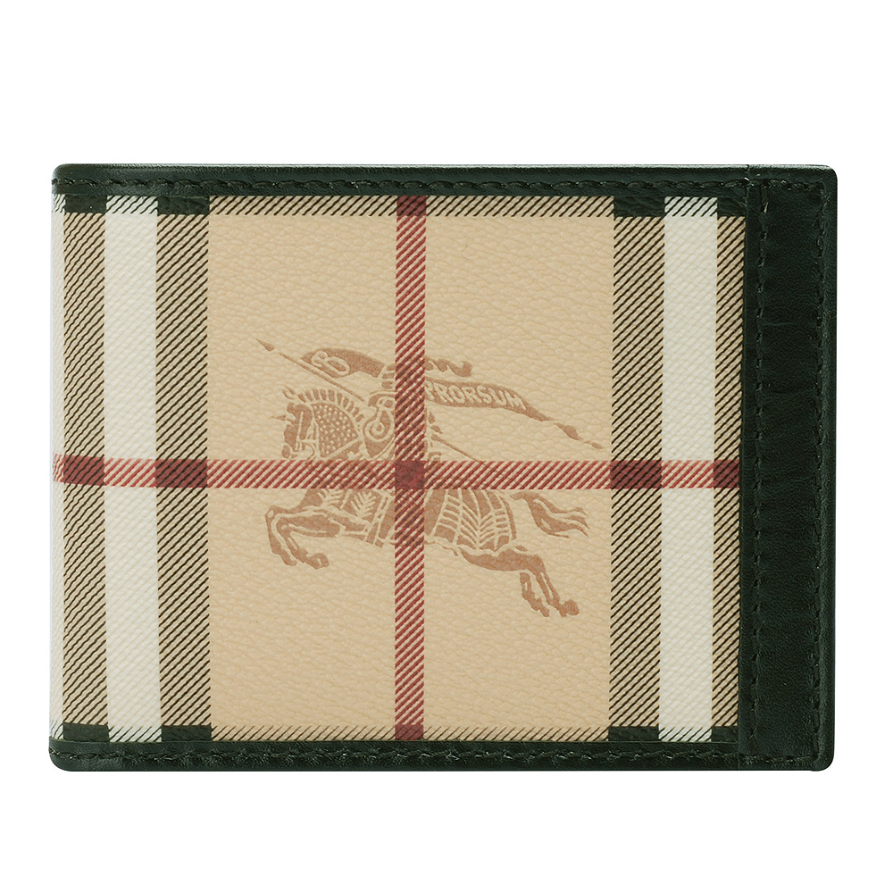 BURBERRY 經典戰馬格紋防水PVC牛皮飾邊短夾(卡其X黑色)