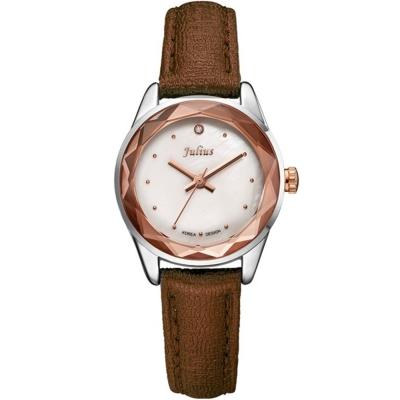JULIUS聚利時 小獅子流星雨貝殼面皮帶腕錶-棕色/26mm