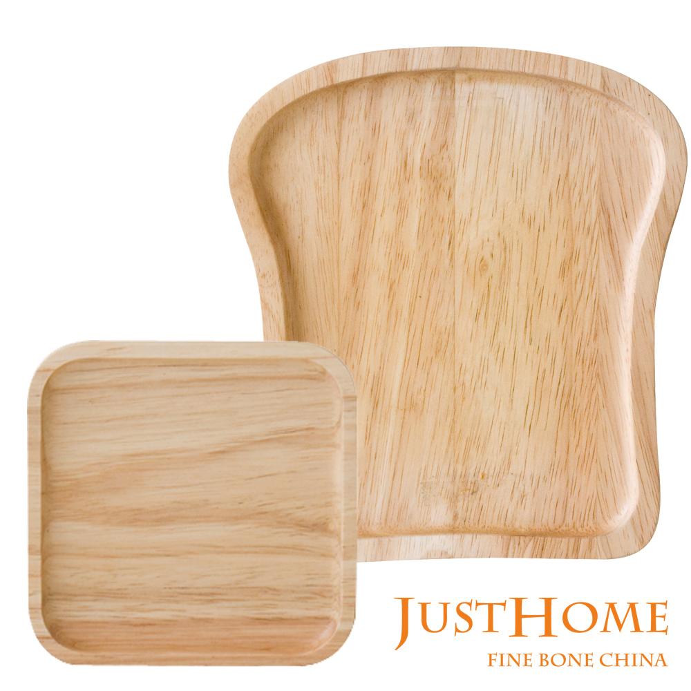 Just Home 台灣製造型橡膠木餐盤2入組(土司+方形)