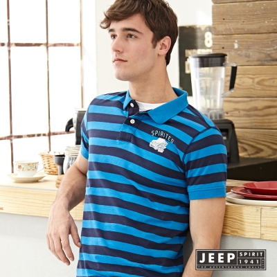 JEEP 海軍風條紋短袖POLO衫 藍色 (合身版)