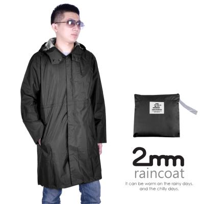 2mm 率性鈕釦款。男款時尚雨衣/風衣(R-M002) 黑色