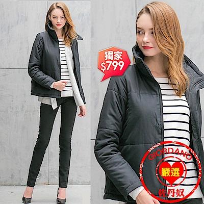 GIORDANO 女裝立領保暖鋪棉外套(附圍脖) - 09 標誌黑